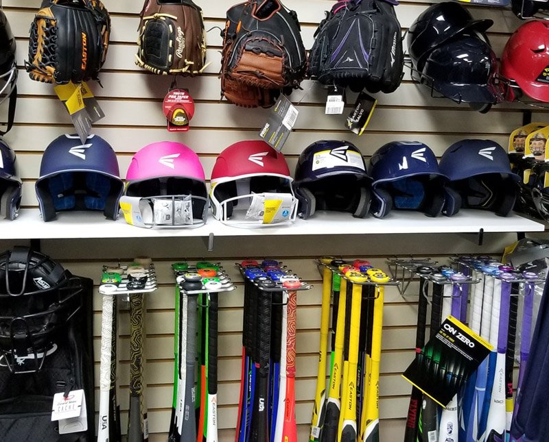 sports gear, bats, gloves, protective gear, Finish Line Sports, custom apparel